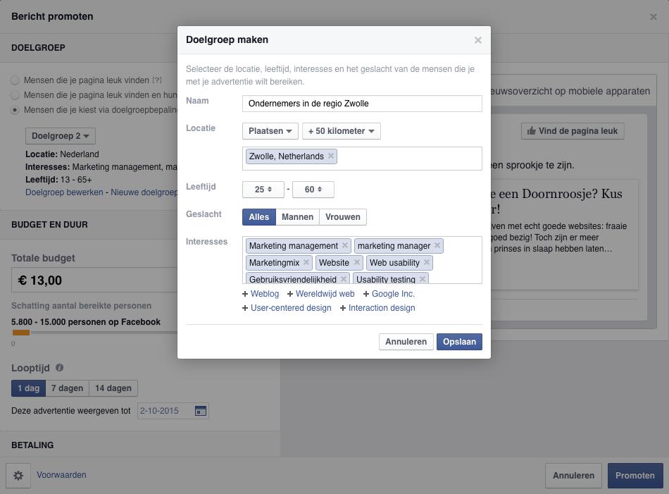 doelgroepbepaling op Facebook